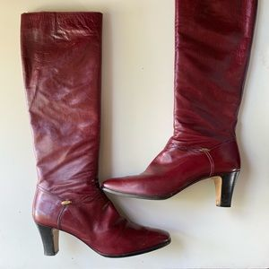 Salvatore Ferragamo red leather tall boots